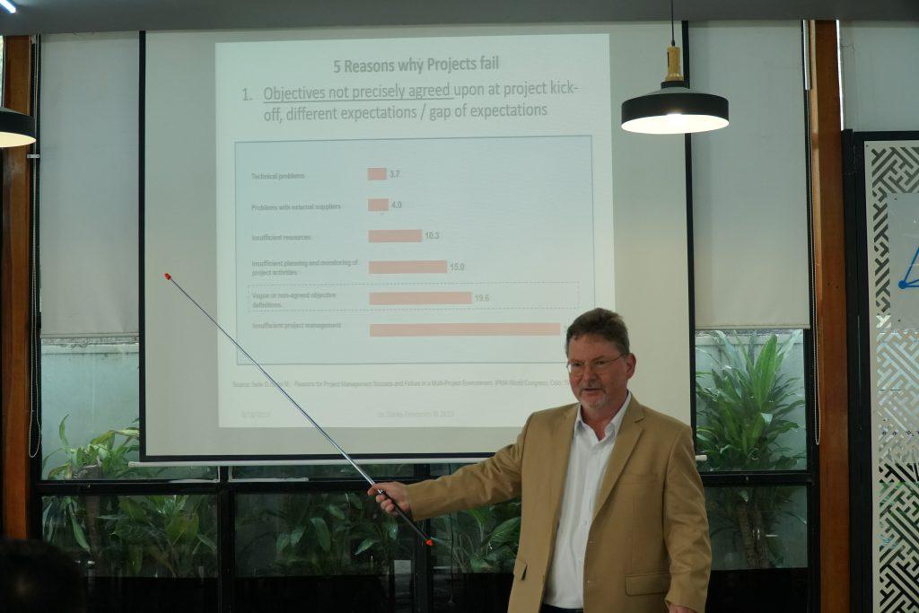 Tiến sĩ Soenke với những phân tích và chia sẻ chuyên sâu về Lý do khiến dự án thất bại